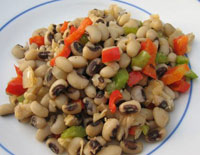 Eat Hoppin John, black eyed peas, for good luck on New Years Day.